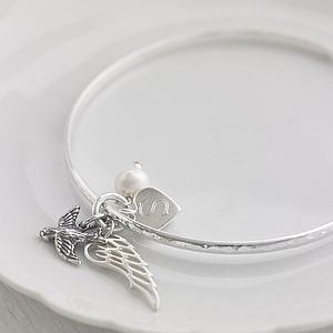 Personalised Sterling Silver Bluebird Bangle