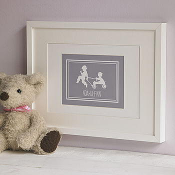 Personalised Siblings Silhouette Print