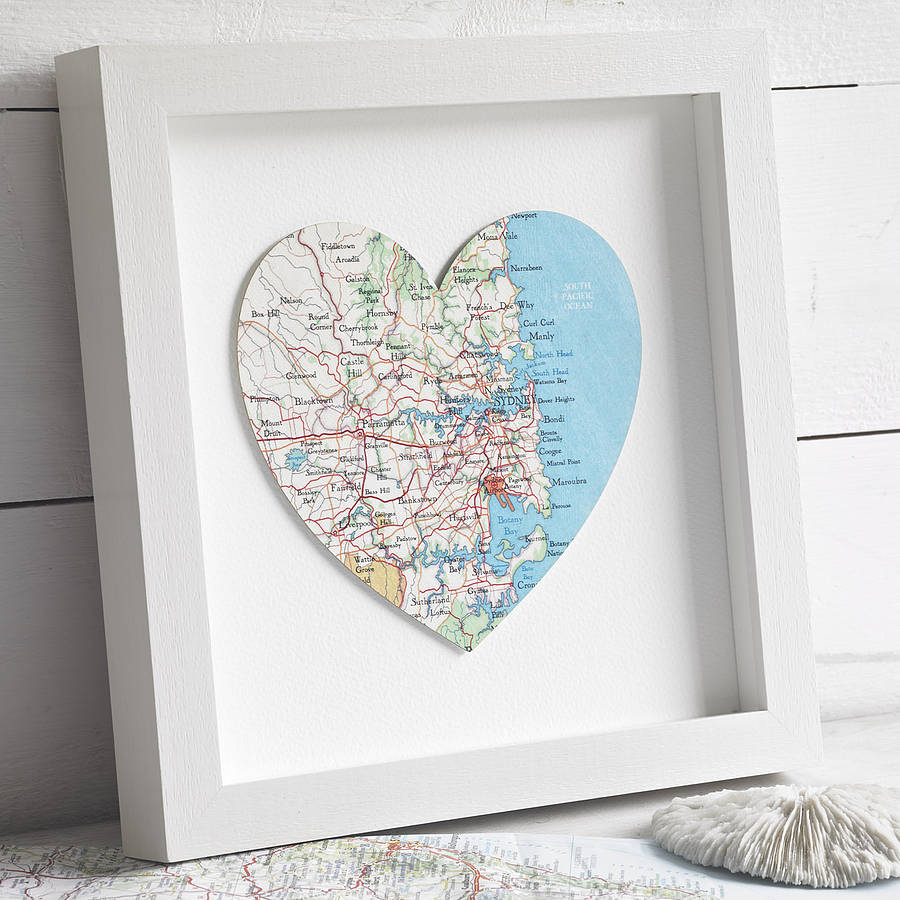 Wedding Gifts Sydney: Sydney Map Heart Print Wedding Anniversary Gift By Bombus