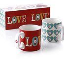 Set Of Two Love Mugs
