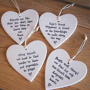 Porcelain Heart Hanging Decoration - shop by category