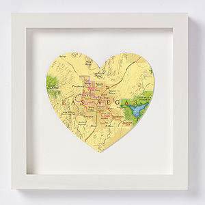 Las Vegas Map Heart Print Wedding Anniversary Gift - personalised