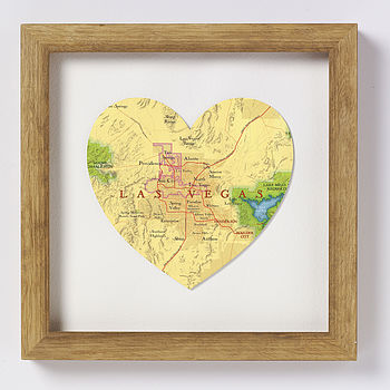 Las Vegas map heart brown wood frame