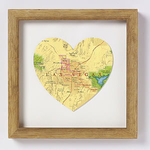 Las Vegas Map Heart Print Wedding Anniversary Gift