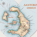 Santorini Map Heart Print