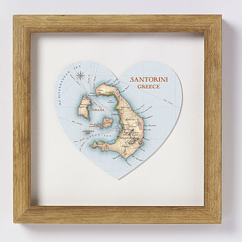 Santorini map heart print natural wood frame