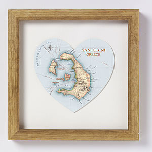Santorini Map Heart Print - posters & prints