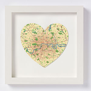 London Map Heart Print