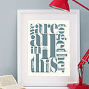 Personalised 'All In This Together' Print