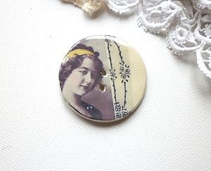 Handmade Vintage Inspired Round Button - leisure