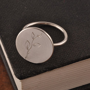Slver Engraved Branch Dome Ring