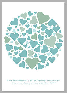 Personalised Wedding Hearts Signature Print - less ordinary guest books