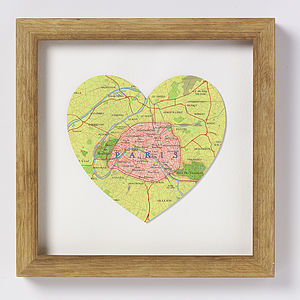 Paris Map Heart Print