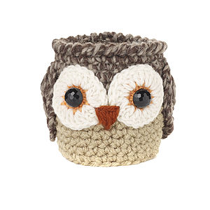 Hand Crochet Oswald Owl Cup Cosy - picnics & barbecues
