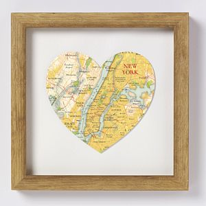 New York Map Heart Print - posters & prints