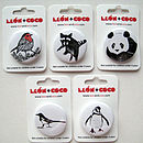 Round Pinback Buttons In Five Animal Designs