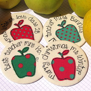 Personalised Apple Xmas Teacher Mirror - compact mirrors