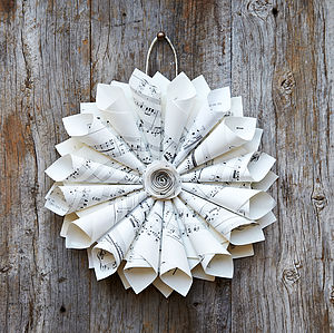 Vintage Sheet Music Wreath - outdoor decorations
