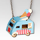 Ice Cream Van Necklace Blue