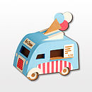 Ice Cream Van Brooch Blue