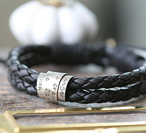 Personalised Mens Black Leather Scroll Tie Bracelet - men's jewellery