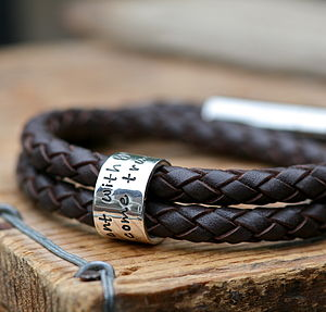 Personalised Brown Wrapped Mens Leather Bracelet - bracelets