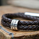 Personalised Brown Wrapped Mens Leather Bracelet