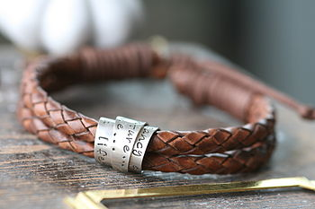 Personalised Tan Scroll Tie Mens Bracelet