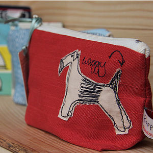 Embroidered Little Make Up Bag Dog - mother's day gifts