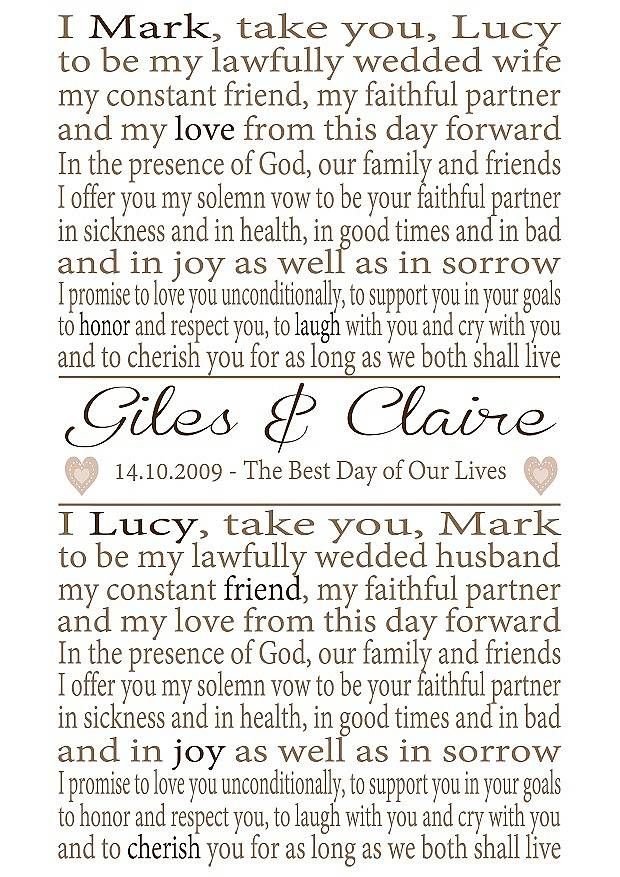 Personalised wedding vows print by lisa marie designs personalised wedding vows print junglespirit Choice Image