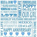 Personalised Anniversary Print - Blue