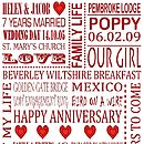 Personalised Anniversary Print - Red
