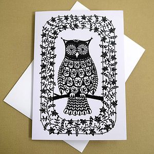 Flower Owl Greetings Card - shop by category