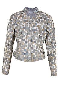 Leather Dotlace Beige Jacket - jackets & coats