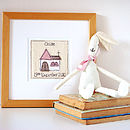 personalised christening card framed, pink