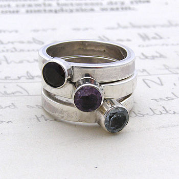 Sterling Silver Semi Precious Stone Ring