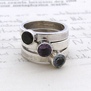 Sterling Silver Semi Precious Stone Ring - rings