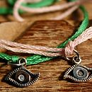 Silver Evil Eye And Thread Bracelet