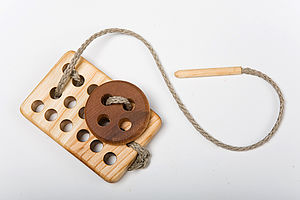 Board With Button Montessori Lacing Toy