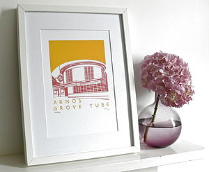 Arnos Grove Tube Silk Screen Print - prints for christmas