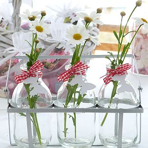 Set Of Three Vintage Style Mini Milk Bottles In A Crate - vases