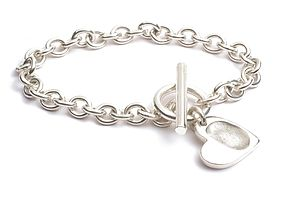 T-Bar Bracelet with FingerPrint Heart(s) - gifts for mothers