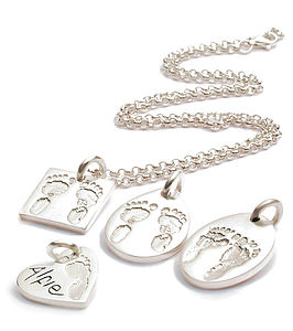 Personalised Hand/Footprint Charm Necklace