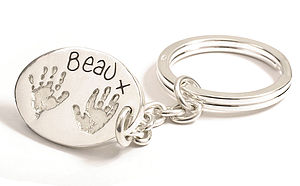 Personalised Hand Or Footprints Oval Keyring - metal keyrings