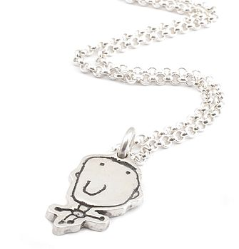 Personalised Charm on a Chain - Drawn By Your Child