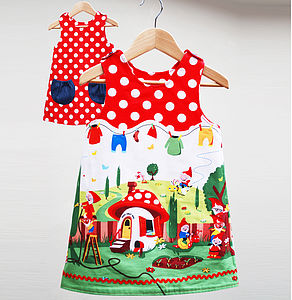 Girl's Gnome Print Reversible Dress - clothing