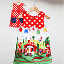Girl's Gnome Print Reversible Dress