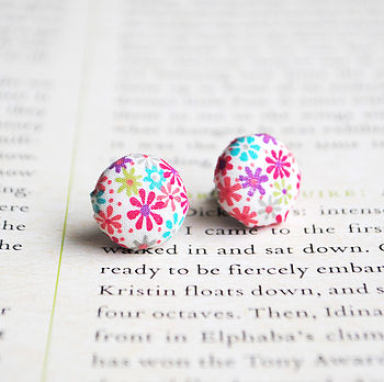 Liberty Fabric Floral Button Earrings - Pink