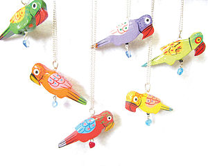 Parrot Painted Bird Pendant And Gift Box - children's jewellery
