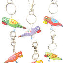 Tropical Parrot Painted Bag Charm Key Ring